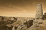 Destinations Digital Art Digital Art - Grand Canyon National Park Mary Colter Designed Desert View Watchtower Rustic by Shawn OBrien