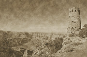 Grand Canyon National Park Mary Colter Designed Desert View Watchtower Vintage Print by Shawn OBrien
