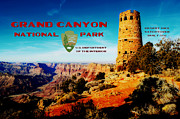 Travelpixpro Posters - Grand Canyon National Park Poster Desert View Watchtower Retro Future Poster by Shawn OBrien