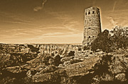 Destinations Digital Art Digital Art - Grand Canyon National Park South Rim Mary Colter Designed Desert View Watchtower Rustic by Shawn OBrien