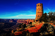Destinations Digital Art Digital Art - Grand Canyon National Park South Rim Mary Colter Designed Desert View Watchtower Vivid by Shawn OBrien