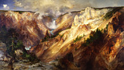 Yellowstone Digital Art Posters - Grand Canyon Of The Yellowstone Poster by Thomas Moran