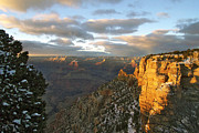 Light And Dark  Digital Art Prints - Grand Canyon. Winter Sunset Print by Ben and Raisa Gertsberg