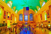 American Flag Pastels Framed Prints - Grand Central Terminal Framed Print by Dan Hilsenrath