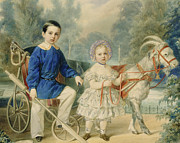 Figures Painting Framed Prints - Grand Duke Alexander and Grand Duke Alexey as Children Framed Print by Vladimir Ivanovich Hau