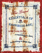White Blue Posters - Grand Essentials of Happiness Poster by Debbie DeWitt