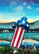 Fourth Of July Painting Framed Prints - Grand Finale Framed Print by Shana Rowe