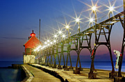 Grand Haven Prints - Grand Haven Front Range Lighthouse Print by Twenty Two North Photography