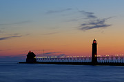 Grand Haven Posters - Grand Haven Pier at Sunset Poster by Twenty Two North Photography