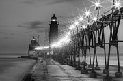 Grand Haven Framed Prints - Grand Haven Pier in Black and White Framed Print by Twenty Two North Photography
