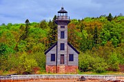 Lakeshore Posters - Grand Island Lighthouse in Munising Michigan Poster by Terri Gostola