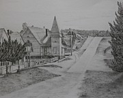 Historical Buildings Drawings Prints - Grand Marais Methodist Church Street Scene Print by Carol Frances Arthur