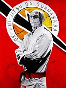 Martial Arts Posters - Grand Master Helio Gracie Poster by Brian Broadway