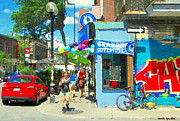 Montreal Streets Paintings - Grand Opening Blue Boy Frozen Yogurt Icecream Mont Royal Colorful Cafe Corner Montreal Art C Spandau by Carole Spandau