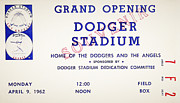 R Posters - Grand Opening Dodger Stadium Ticket Stub 1962 Poster by Digital Reproductions