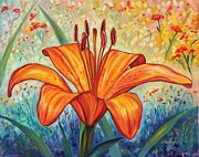 Orange Tiger Lily Prints - Grand Opening  Print by Eve  Wheeler