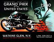 Watkins Glen Framed Prints - Grand Prix 1950 Framed Print by Mark Rogan