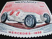 Racing Number Photos - Grand Prix de Monaco 1936 Vintage Postage Stamp Print by Andy Prendy