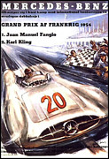 Fifties Automobile Posters - Grand Prix F1 Reims France 1954  Poster by Nomad Art And  Design