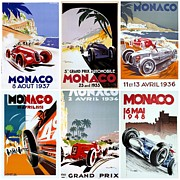 Race Cars Framed Prints - Grand Prix of Monaco Vintage Poster Collage Framed Print by Don Struke
