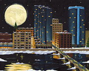 Moon Painting Posters - Grand Rapids Poster by Christy Beckwith