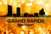 Iconic Design Mixed Media Posters - Grand Rapids MI 3 Poster by Angelina Vick