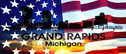 Grand Rapids Posters - Grand Rapids MI Patriotic Large Cityscape Poster by Angelina Vick