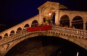 Gran Canal Prints - Grand Rialto at Night - Venezia - Italy Print by Anna Lisa Yoder