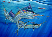 Black Marlin Painting Prints - Grand Slam And Lure. Print by Terry Fox