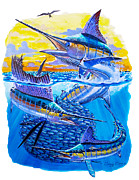 Black Marlin Framed Prints - Grand Slam baitball Framed Print by Carey Chen