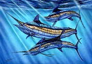 Striped Marlin Painting Posters - Grand Slam In The Wild Poster by Terry Fox