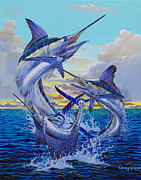 White Marlin Painting Posters - Grand Slam Off0016 Poster by Carey Chen