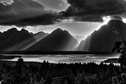 Light Beams Art - Grand Teton Light Beams by Aidan Moran