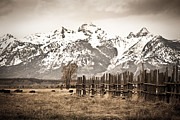 National Pyrography Framed Prints - Grand Tetons in Sepia Framed Print by Glenn Fillmore