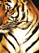 Vote Mixed Media - Grand Tiger black by Eakaluk Pataratrivijit