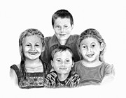 Missing Tooth Drawings Posters - Grandchildren Portrait Poster by Peter Piatt