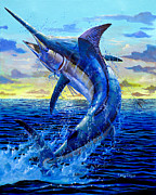 Marlin Painting Framed Prints - Grander Off007 Framed Print by Carey Chen