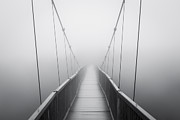 Blue Ridge Parkway Acrylic Prints - Grandfather Mountain Heavy Fog - Bridge to Nowhere Acrylic Print by Dave Allen