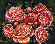 Linda Simon Wall Decor Prints - Grandma Lights Peonies Print by Linda Simon