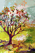 Provence Mixed Media Posters - Grandmas Apple Tree Modern Art Poster by Ginette Callaway