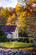 Fall Scenes Framed Prints - Grandmas House Framed Print by Debra and Dave Vanderlaan