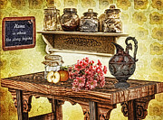 Crisp Digital Art Posters - Grandmas Kitchen Poster by Mo T