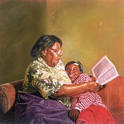 Cuddle Paintings - Grandmas Love by Colin Bootman