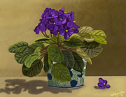 Potted Florals Framed Prints - Grandmas Violets Framed Print by Susie LaLonde
