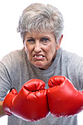 Strict Framed Prints - Grandmother and boxing gloves Framed Print by Joe Belanger