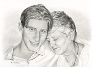 Emotional Drawings Prints - Grandmother And Grandson Print by Sarah Batalka