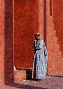 India Pastels Metal Prints - Grandmother In India Metal Print by Olde Time  Mercantile