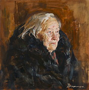 Realist Paintings - Grandmother by Victoria Kharchenko