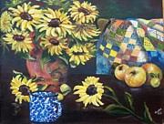 Fruit And Sunflowers Acrylic Prints - Grandmothers Quilt Acrylic Print by Jean Ann Curry Hess