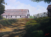 Tin Roof Paintings - Grandpa Blanchards Hay Barn by Charles Fennen